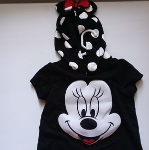 Girls mickey mouse pull over vest with hoodie